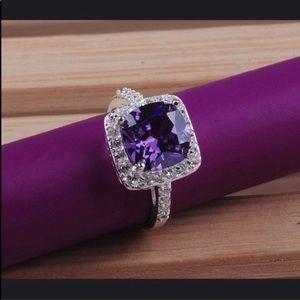 Princess cut, simulated amethyst crystal ring